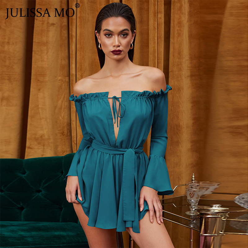 JULISSA MO <font><b>Elegant</b></font> Ruffle Off Shoulder <font><b>Chiffon</b></font> <font><b>Dress</b></font> <font><b>Women</b></font> Summer Slash Neck Sashes <font><b>Dress</b></font> 2019 Pink <font><b>Fashion</b></font> Mini Beach <font><b>Dresses</b></font> image