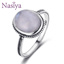 Nasiya Big Oval Natural Moonstone Ring 925  Silver Fine Jewelry Party Weeding Gift Wholesale Dropshipping