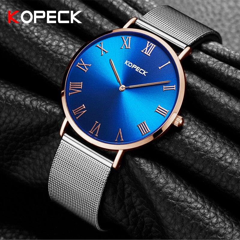 Kopeck Simple Fashion 6mm Women Wrist Watch Stainless Steel Blue Classic Dial Ladies Clock Luxury Women