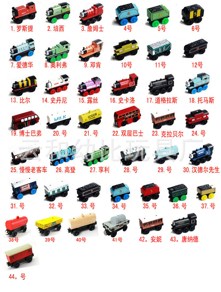 5 PCS Wooden Toy Vehicles Thomas and His best Friends Wood Trains Model Magnetic Train Great