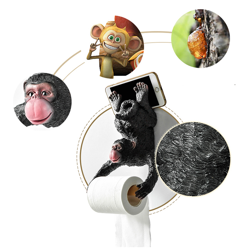 Creative Hang Monkey Statue Roll Paper Holder Wall Mount Resin Sculpture Home Bathroom Decor Gift Party Decoration Dropshipping