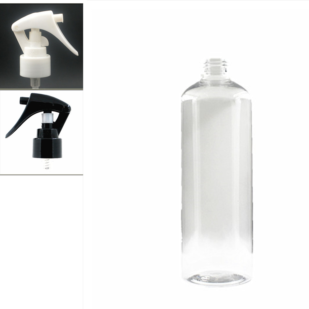 500ml Empty Round Plastic Bottles, Clear PET Bottle With White/black Trigger Sprayers