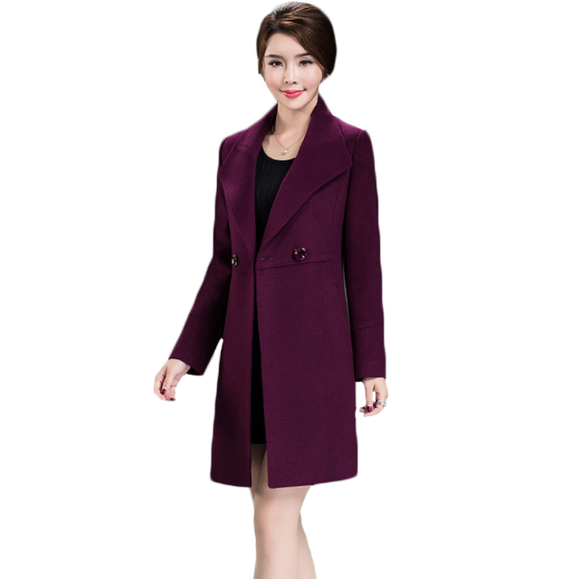 Women's Loose Plus Size Clothing 2018 Autumn Winter Fashion Turn Down Collar Double-breasted Slim Wool Trench Coat Jacket XH598 3