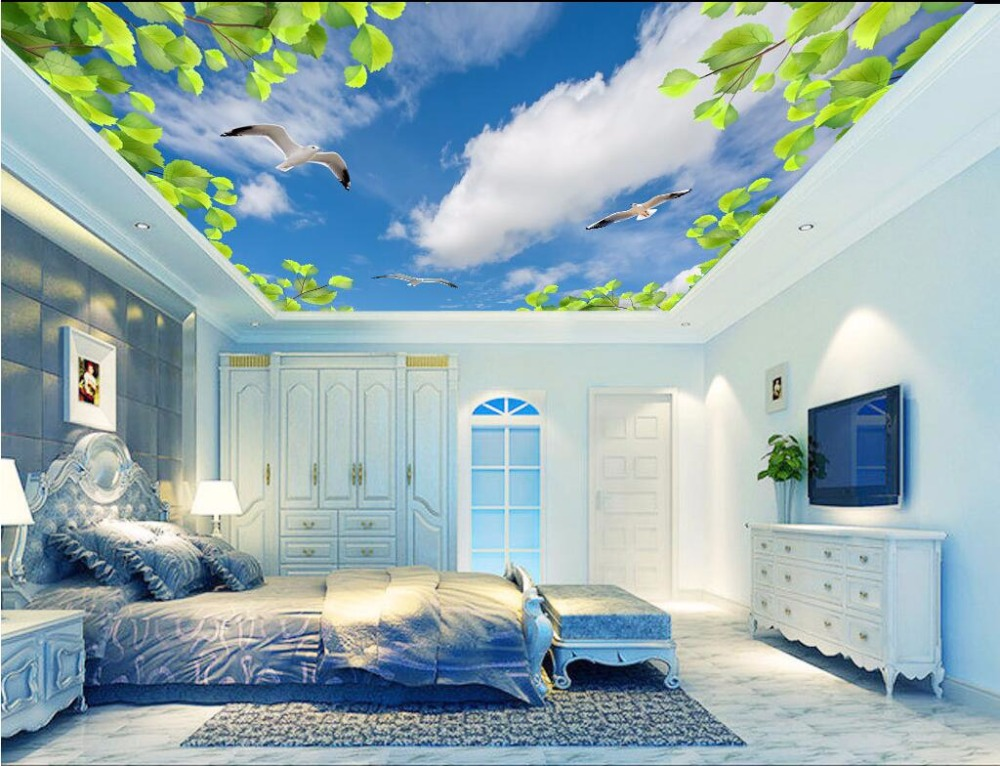 Custom photo 3d ceiling murals wallpaper Fresh green leaves and blue sky room painting 3d wall murals wallpaper for walls 3 d исаев р а секреты успешных банков бизнес процессы и технологии