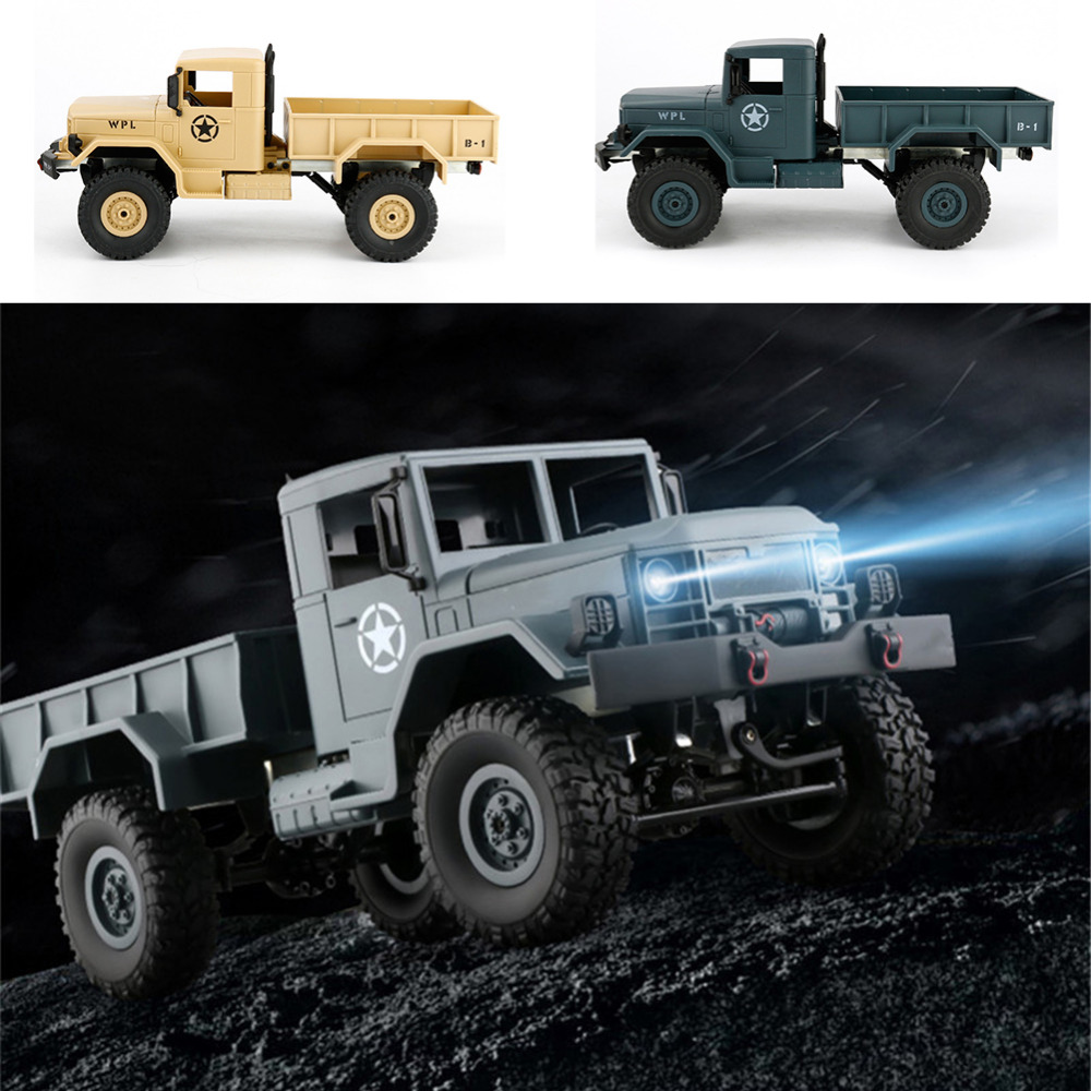 WPL B-1 1/16 2.4G 4WD Military Truck Four-wheel Drives Off-road Climbing Car Model 1:16 Remote Control Car with Built-in Battery