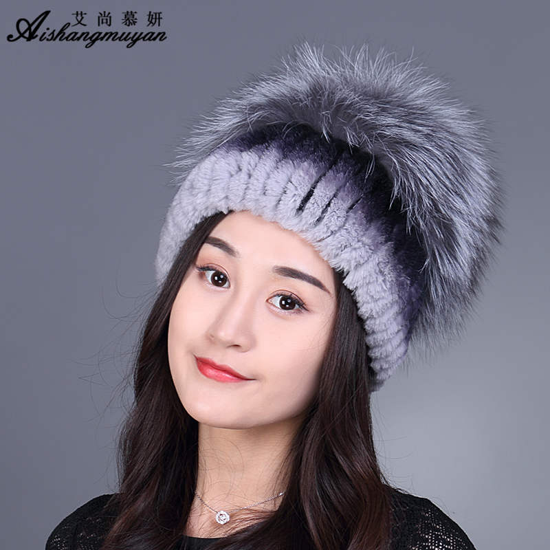Winter Fur Hat For Women Knitting Real Rex Rabbit Fur Hat With Fox Fur Flower Knitted Beanies 2017 New Russian Caps Winter Cap