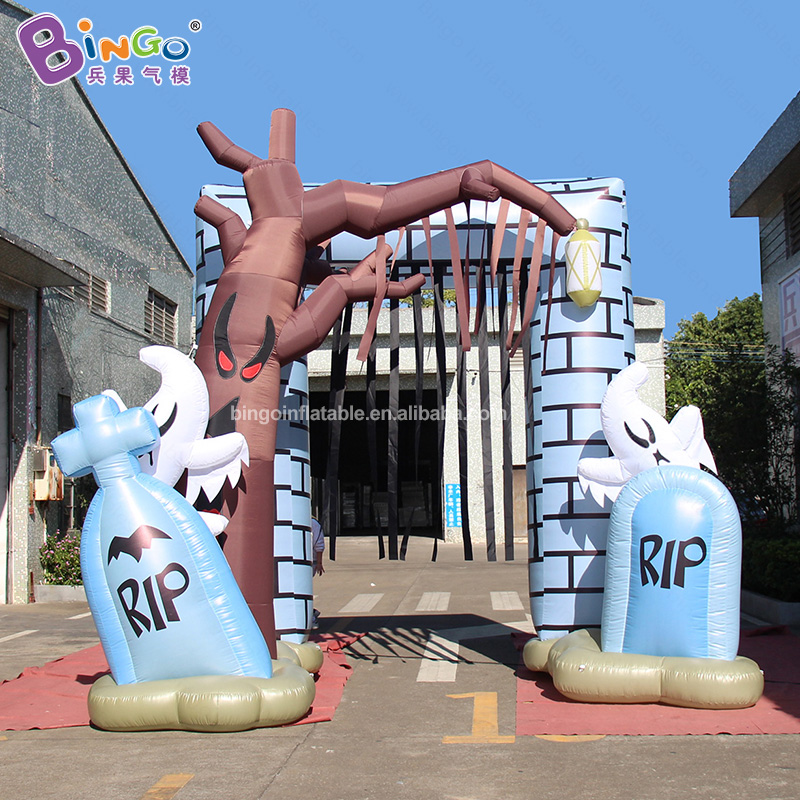 2019 HOT SALES 5x4mh inflatable tombstone arch entrance decoration air filled Christmas archway for advertising outdoor display