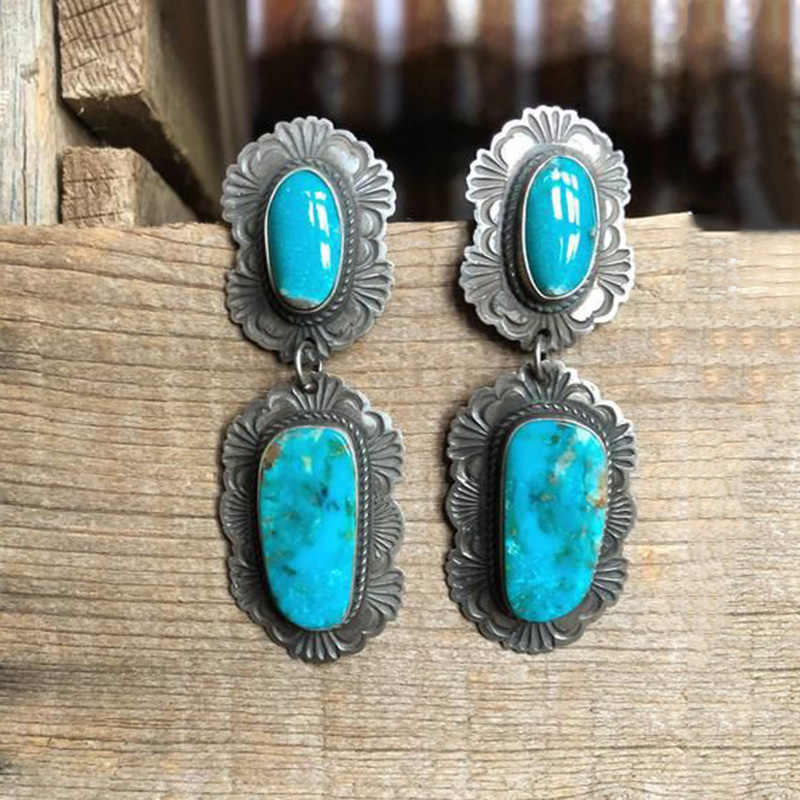 2019 Vintage Turquoises Pattern Alloy Dangle Earrings for Women Bijoux Boho Ethnic Antique Silver Long Earring Fashion Jewelry