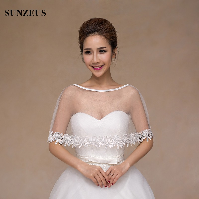 Lace Edge Tulle Wedding Capes Cheap Elegant Evening Wraps High Quality Summer Bridal Wedding Jackets S461