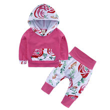 New Infant Toddler Girls Sets Floral Outfit Clothes Hooded Long-sleeved Tops+Leggings Pants 3Pcs Set Baby Clothes For Girls(China)