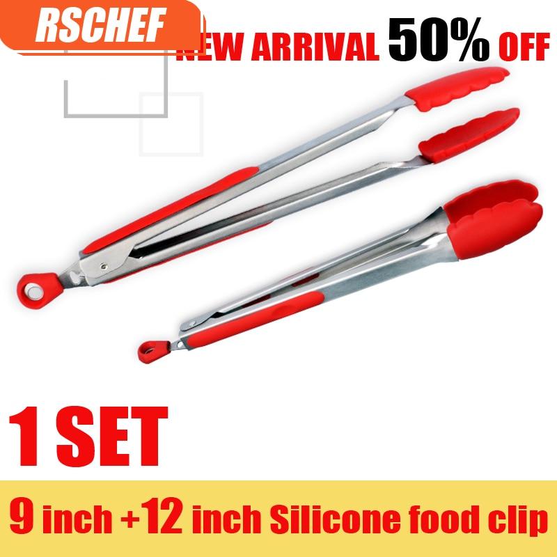 1 set 2 keping 9 & 12 inci BBQ silikon perlindungan pemegang dapur tongs kunci reka bentuk klip klip barbeku tahan karat makanan keluli tahan karat