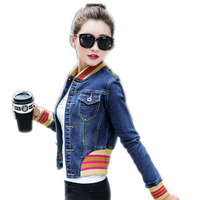 LinsDenim Spring Autumn Short Jackets Women Long Sleeve Slim Denim Jacket Ladies Single Breasted Casual Jeans