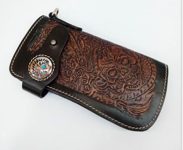 Free Shipping,punk Type Tanning Cowhide Skeleton Wallet,men's Cool Purse,Indian Multi-functional Waist Pack.cool Gift.sales.