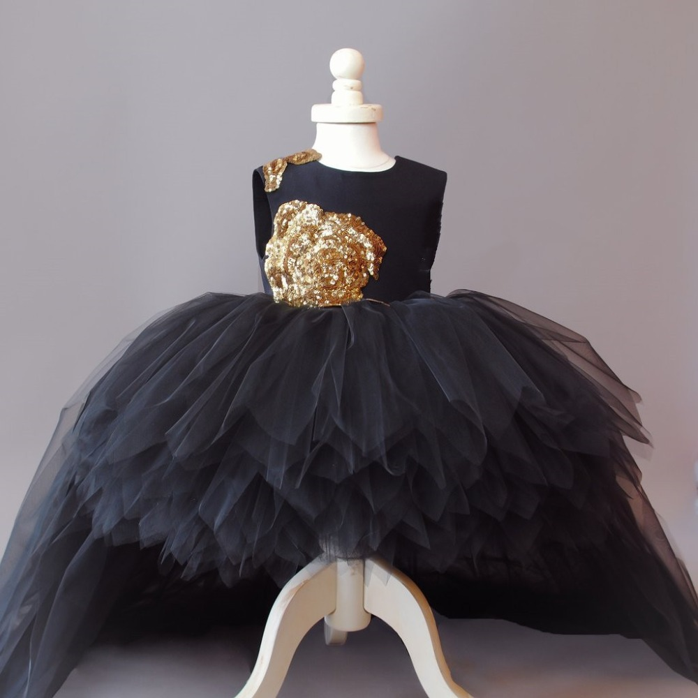 8f038f99d3e Luxury Black toddler flower girl dresses high low gold sequined flower tutu  dress 1st birthday prom party outfit with train-in Dresses from Mother    Kids on ...