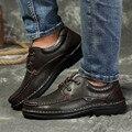 Tamaño grande 48 de Invierno de Los Hombres Pisos Zapatos de Cuero de Grano Completo zapatos de Los Hombres Botas de Invierno Negro Zapatos de Los Hombres de Lujo Marca Sapatos Masculino
