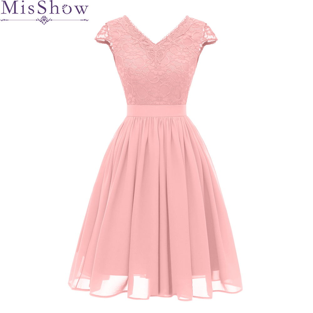 Pink Backless Lace A-Line   Cocktail     Dresses   2019 Elegant Summer Women Vestidos V-Neck Sexy Women   Cocktail     Dresses