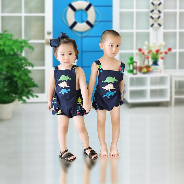 Puresun Popular Cute Dinosaur Applique Toddler Boys Summer Romper Strap Design Boys Sleeveless Romper Outfit