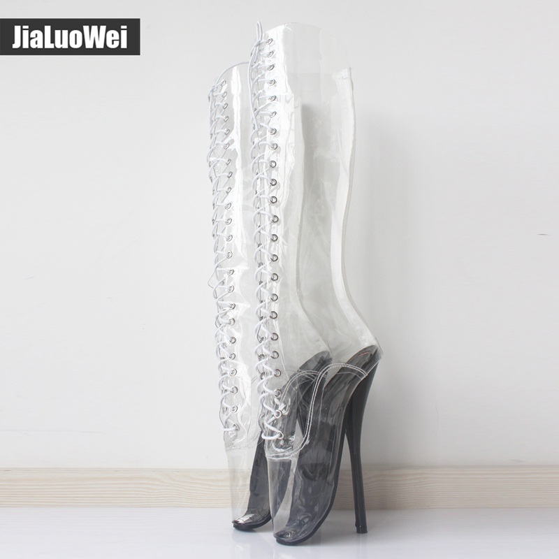 jialuowei 2018 New Women Sexy Ballet super fashion shoes Pointed Toe Transparent Clear Vinyl Thin Sexy Fetish High heel boot free shipping new chic metal pointed closed toe transparent shiny pointed ballet flat shoes women s shoes sjl167