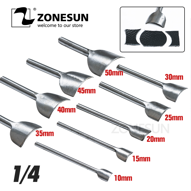 ZONESUN 9PCS /set Stainless Steel Corner Cutter Belt Hollow Hand Puncher Leather Craft Tool 10-50mm Home DIY Gift Free Shipping