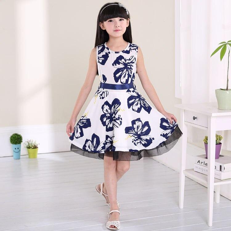 2015 new summer girls dress children dress chinese style blue and