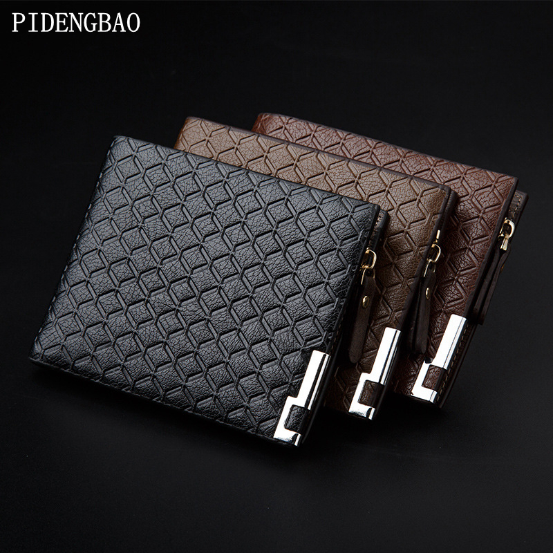 все цены на PIDENGBAO Wallets Quality Pu Stripe Soft fine Design Purse Men Brand Card holder Mens Wallet Leather masculina Wholesale price