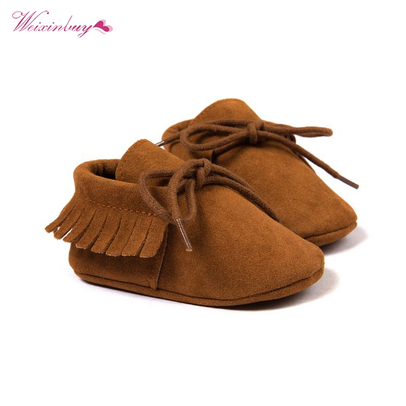 Baby Shoes Infant Toddler Tassel Leather Moccasin Kids Boys Girls First walkers 0-18M