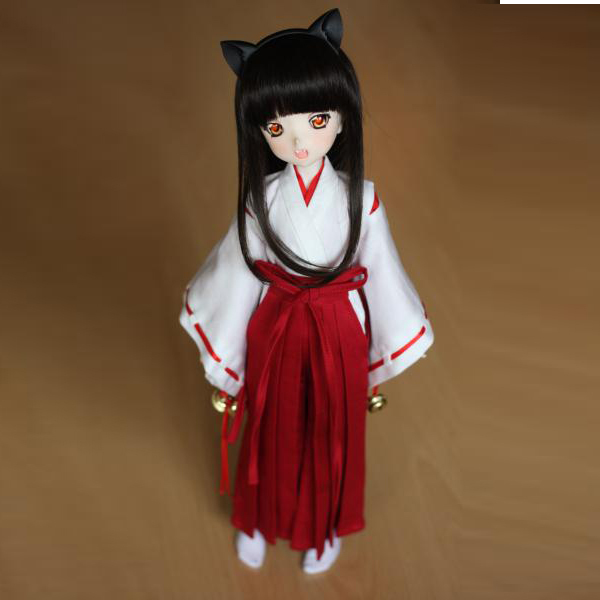[wamami] 3pc White&Red Inuyasha Kimono Miko Anime 1/3 SD DOD AOD DOLL BJD Dollfie handsome grey woolen coat belt for bjd 1 3 sd10 sd13 sd17 uncle ssdf sd luts dod dz as doll clothes cmb107