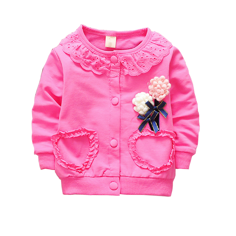 free shiping 2017 spring autumn baby girls bow sweet Sweatshirts, child design Jackets