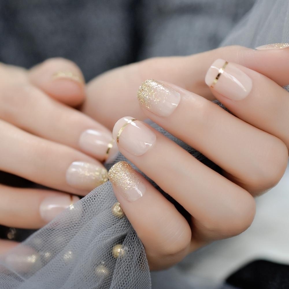 Details about 24pcs Cover False French Nails Tips Gold Glitter Nude Press  On Fingernails Short