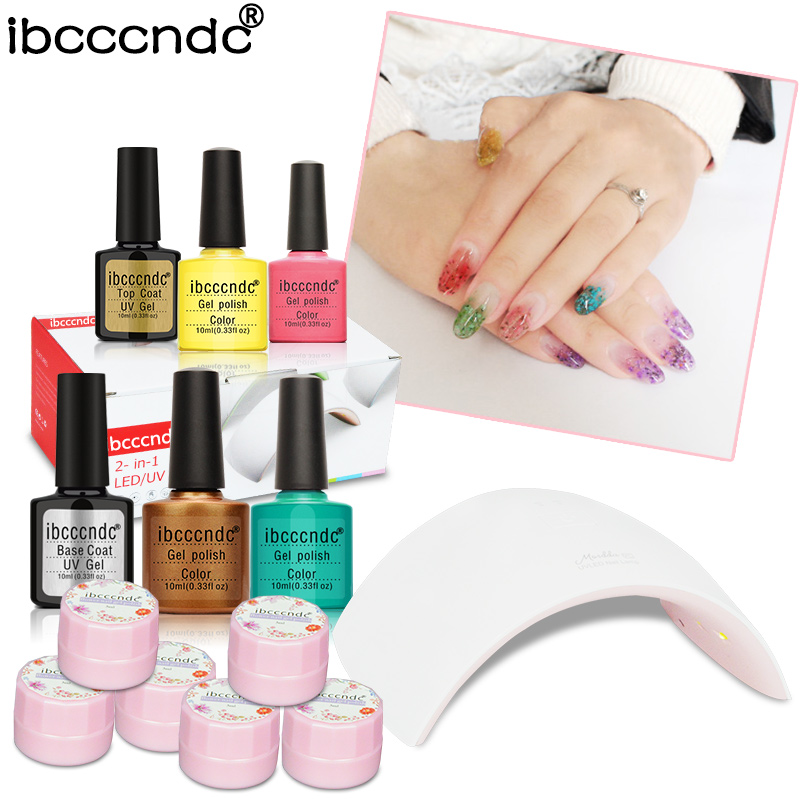 Nail Art Set 4pcs 10ml Soak Off UV Gel Nail Polish 24W LED Lamp Base Gel Top Coat Varnish 6 Colors Flower Fairy Gel Lacquer Kit simd 196 colors nail gel polish primer gel nail polish led uv gel varnish base top coat nail lacquer gel polish