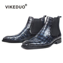 VIKEDUO 100% Genuine Crocodile Leather Ankle Boots For Men Plaid Patina Square Toe Handmade Mans Footwear Winter Chelsea Zapatos