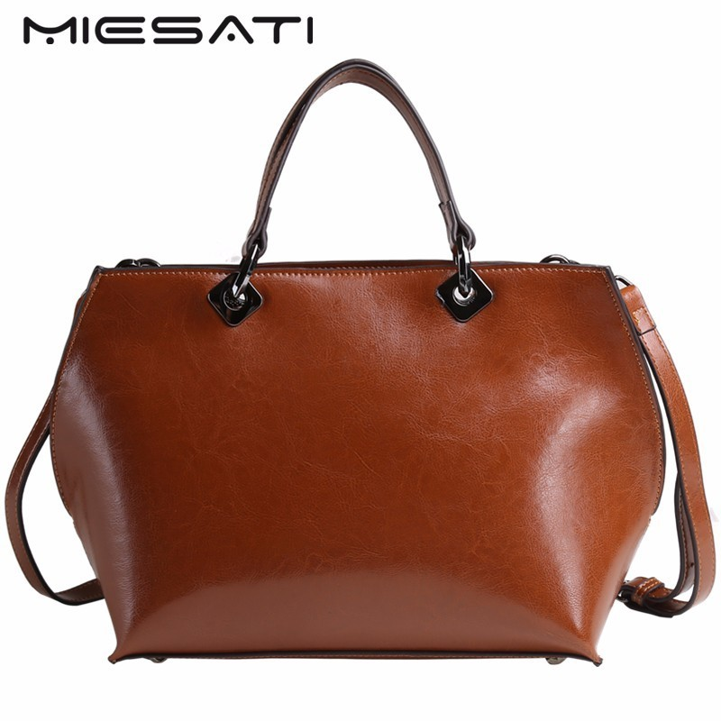 MIESATI Genuine Leather Handbag Women Shoulder Bags Soft Leather Fashion Shoulder Bag Large Capacity Casual Brand New Women Bag new 2017 fashion brand genuine leather women handbag europe and america oil wax leather shoulder bag casual women