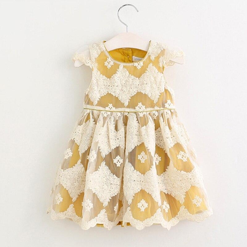Children Dresses 2017 Summer Fashion Style Girls Lace Princess Dress Kids Sleeveless Embroidery Cute Clothes Dress