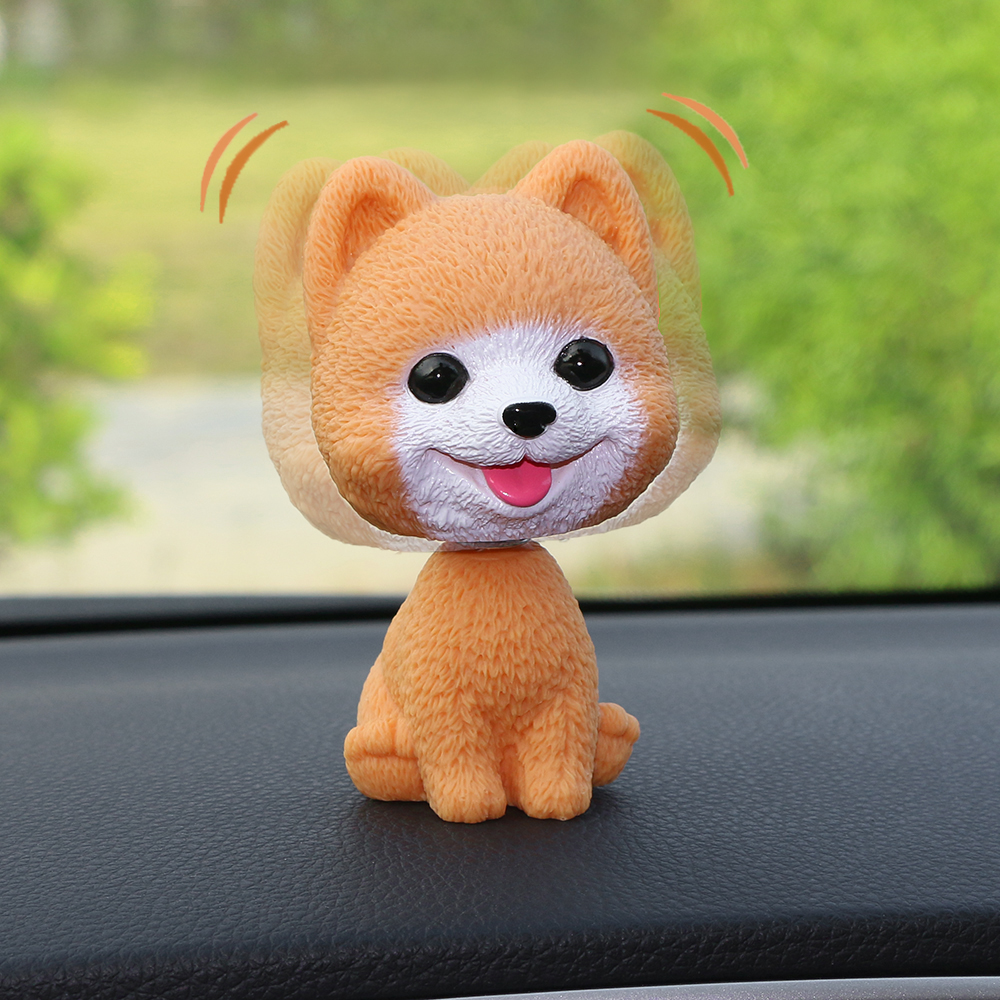 Car Ornament PVC Cute Shaking Head Dog Automobiles Interior Dashboard Swing Nodding Puppy Doll Decoration Ornaments Toys Gift solar powered head shaking cute hula couple desktop toy