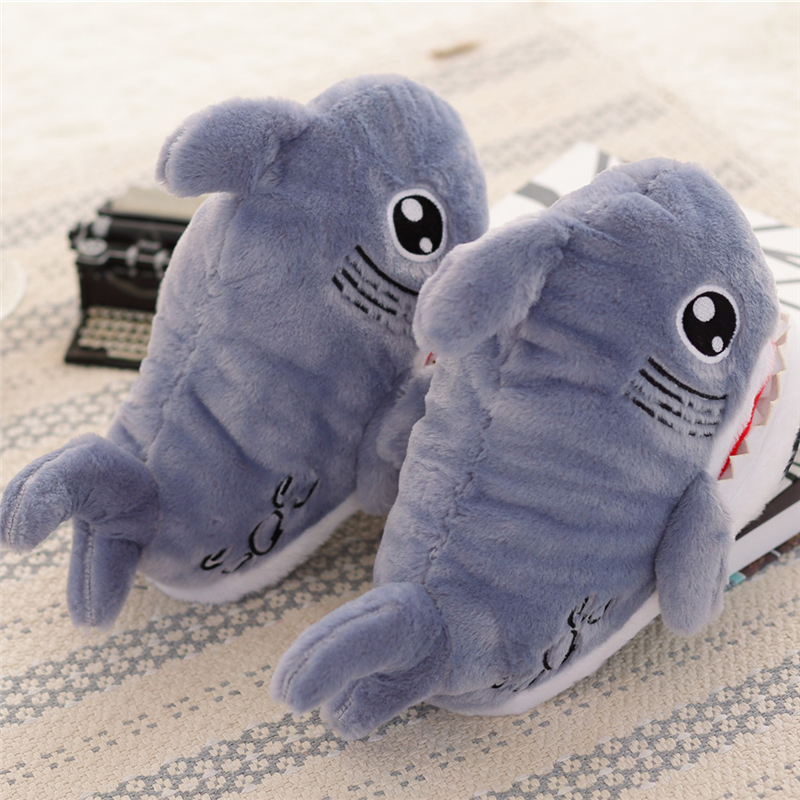 Winter Super Animal Funny Shoes For Men and Women Warm Soft Bottom Home&House Indoor Floor Shark Shape Furry Slippers Shallows 4