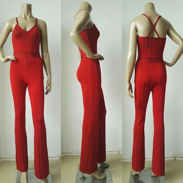 IN STOCK! RED STRAPPY JACQUARD BANDAGE JUMPSUIT! HIGH FASHION!