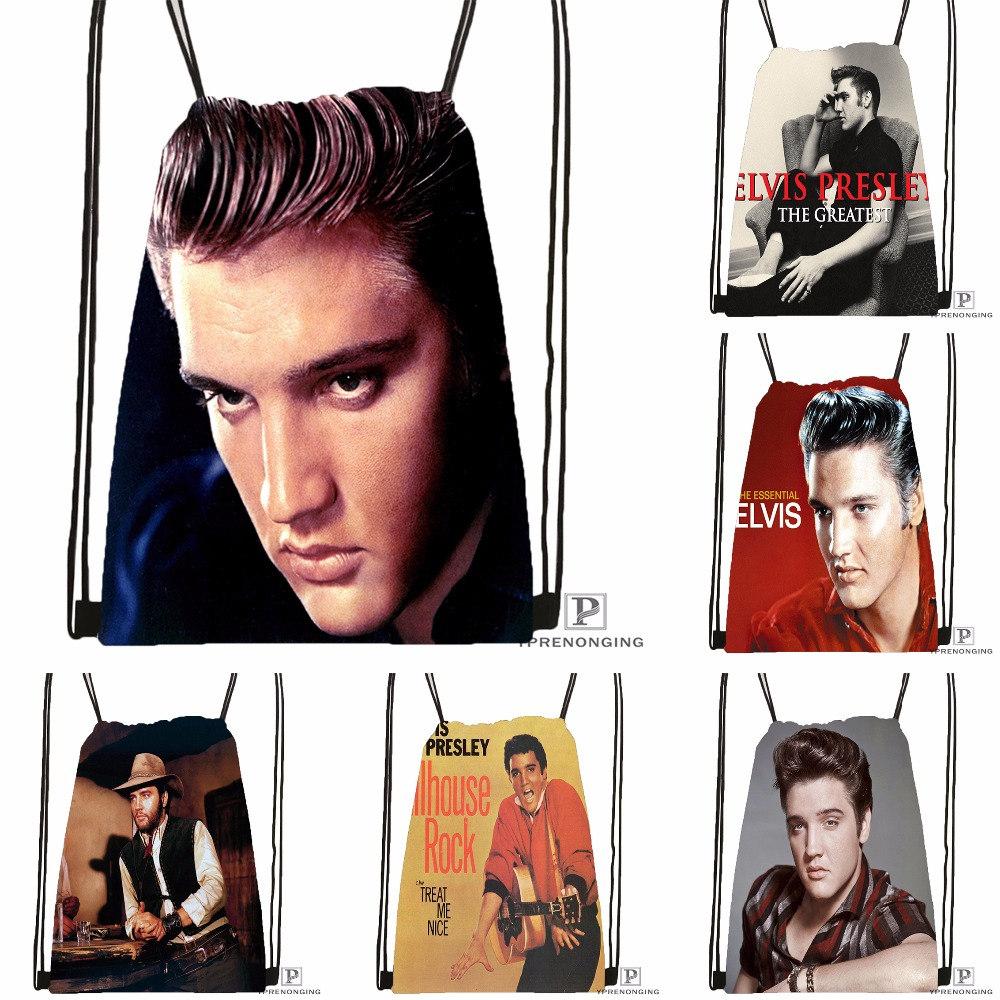 Custom Elvis Presley Drawstring Backpack Bag Cute Daypack Kids Satchel (Black Back) 31x40cm#180531-02-33