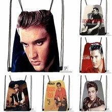 Custom Elvis Presley Drawstring Backpack Bag Cute Daypack Kids Satchel (Black Back) 31x40cm#180531-02-33