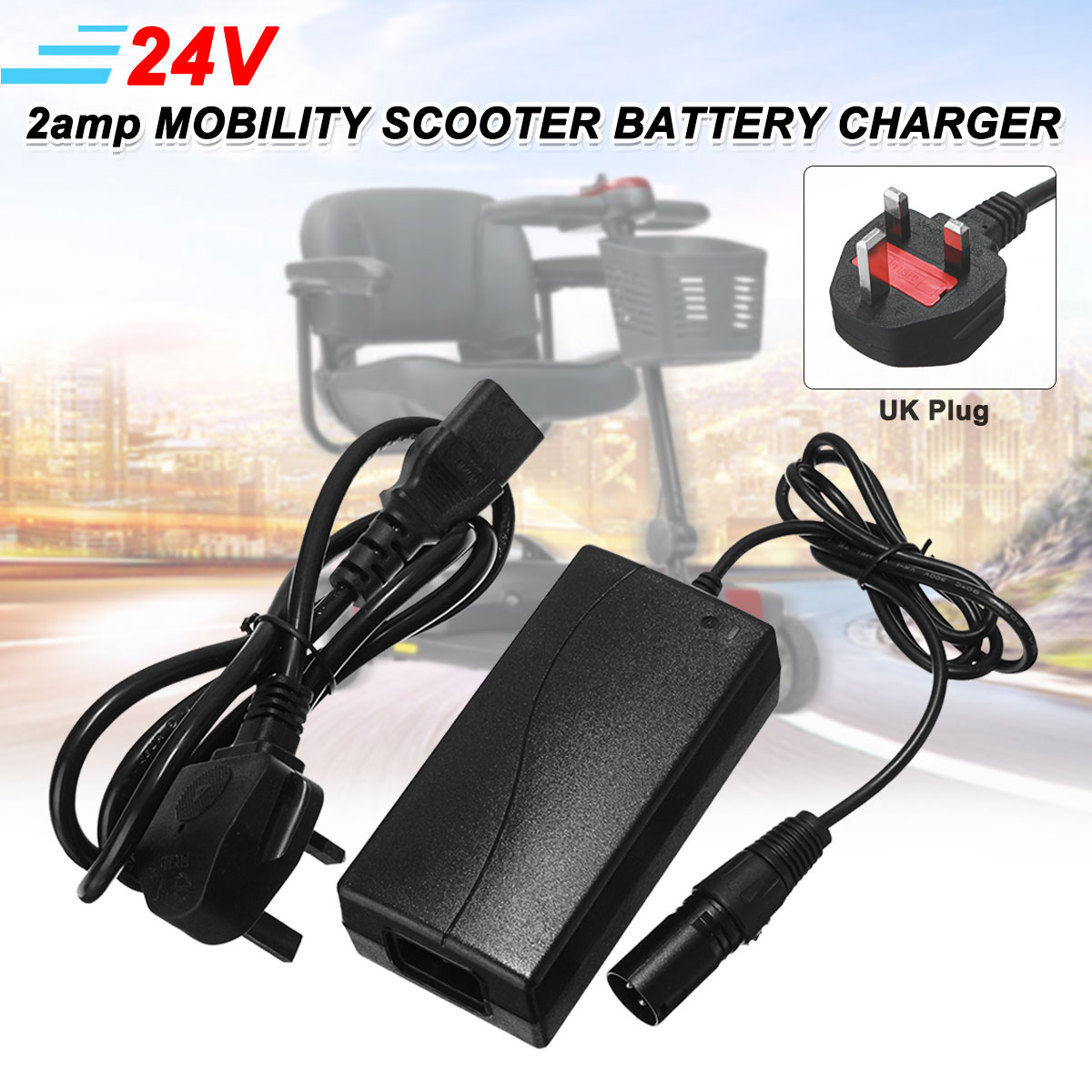 24V 2A 2amp Quality Mobility Scooter Battery Charger Switching Power Supply Floating Charge Function with UK Plug