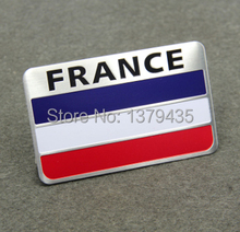 2pcs/lot 80X50MM Aluminum France French Flag Car Decoration Stickers Emblem Decal Badge For Citroen Peugeot Buick etc(China)