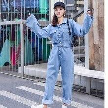 Модная уличная одежда, женские джинсовые комбинезоны, осень, боди с длинным рукавом, повседневный джинсовый комбинезон с высокой талией