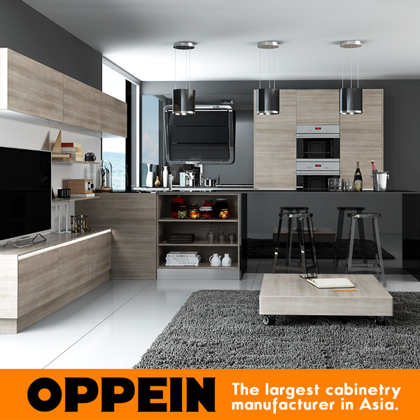 2016 Latest Styles Kitchen Cabinet Furniture China Manufacture Modern Design Wooden Kitchen Cabinet Blum Hardware  OP16-M05