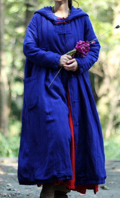 23e904ed0 Azul marino de invierno gran tamaño ultra larga con capucha hecho a mano  botones de la placa suelta acolchado ropa de abrigo chaqueta wadded