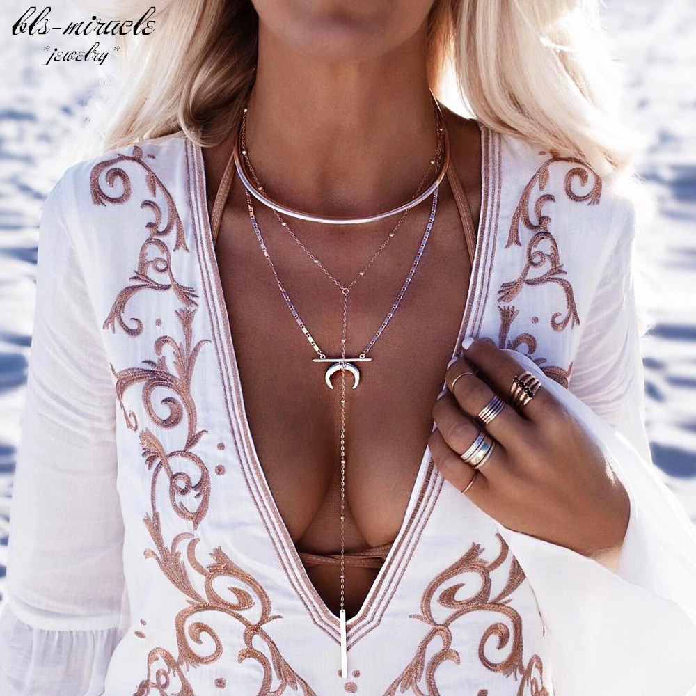 bls-miracle punk fashion jewelry accessories Trendy Multi-layer moon  pendant with Torques Necklace nice gift  for lover N559 chain
