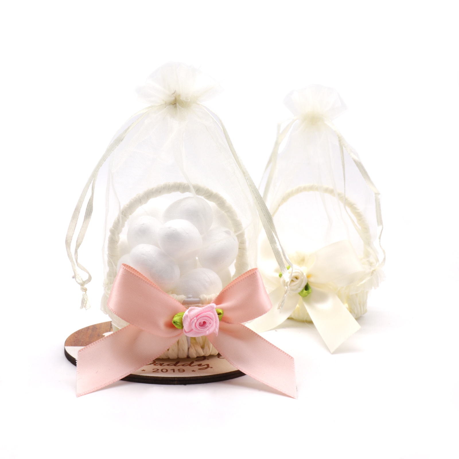 13x7cm New Basket Bow Candy Flower Box Tulle Wedding