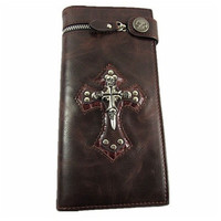 Men Skull Cross Leather Wallet Rocker Biker Trucker Punk Gothic Long Purse With Chain Xmas Gift