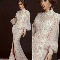 Arabic Moroccan Mermaid Evening Dresses Party Elegant for Women Celebrity Long Sleeves Dubai Caftans High Neck Split Formal Gown