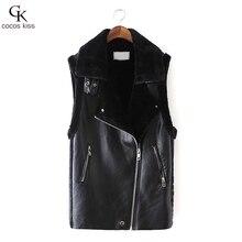 Hot Sale 2016 Winter Women Lady Leisure Fashion Warm Faux Fur Collar Vest Long Leather Waistcoat Coat Outerwear