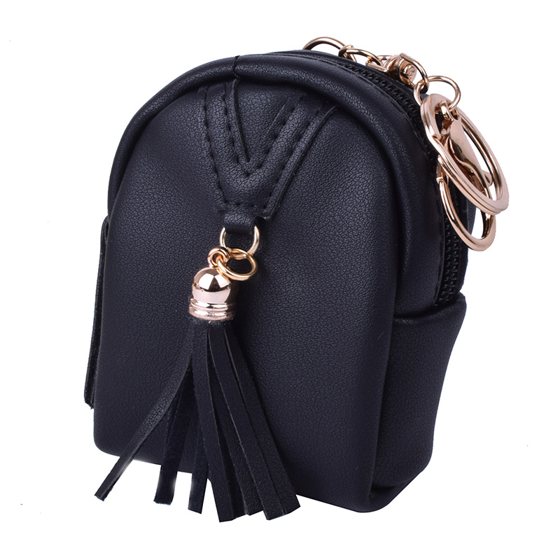 Mini Cute Coin Purse Keychain Fashion Satchel Lovely Zipper Buckle Tassels Wallet Credit Card Holder Bag for Girl's Present fashion colorful lady lovely coin purse solid golden umbrella clutch wallet large capacity zipper women small bag cute card hold
