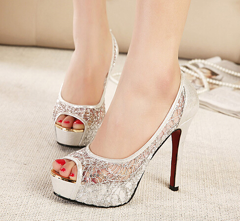 Aliexpress.com : Buy Silver lace paillette bridal pumps shoes ...